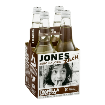 Jones Zilch Zero Calorie Soda Vanilla Bean Flavor - 4 CT