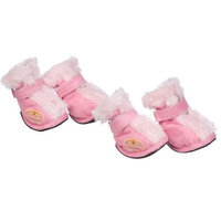 Pet Life DPF09805 Solid Ultra Comfort Velcro Dog Boots, Large, Pink