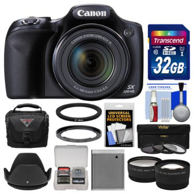Canon PowerShot SX520 HS Digital Camera with 32GB Card + Case + Battery + 3 Filters + Tele/Wide Lens Kit