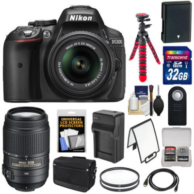 Nikon D5300 Digital SLR Camera & 18-55mm G VR DX II Lens (Black) with 55-300mm VR Lens + 32GB Card + Battery & Charger + Bag + Tripod + Kit
