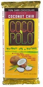 Coco Polo 70% Cocoa Dark Chocolate Bar Sweetened with Stevia Toasted Coconut 2.82 oz