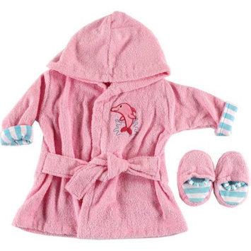 Luvable Friends Baby Girls Turtle Splash Robe & Slippers Set