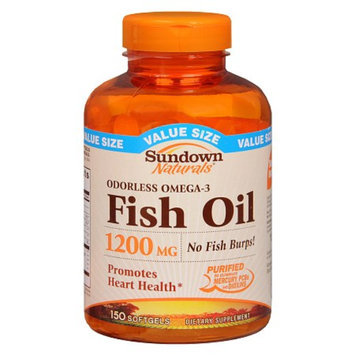 Sundown Naturals Odorless Fish Oil 1200 mg Dietary Supplement Softgels