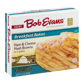 Bob Evans Breakfast Bakes Ham & Cheese Hash Browns in a Patty - 4 CT