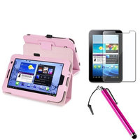 Insten INSTEN Pink Folio PU Leather Case/360 Case Stand For Samsung Galaxy Tab 2 Tablet+Screen Protector+Stylus Pen