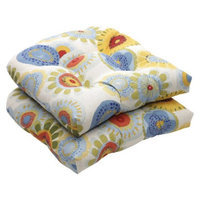 Pillow Perfect Outdoor 2-Piece Wicker Chair Cushion Set - Blue/White/Yellow Floral