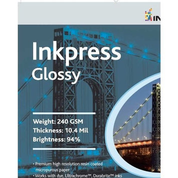 Inkpress Glossy, Single Sided Gloss Surface Inkjet Paper, 240gsm, 10.4 mil, 8x10