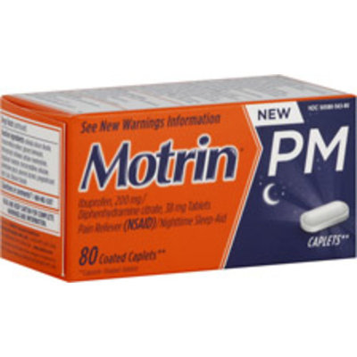 Motrin PM Pain Reliever/Nighttime Sleep-Aid Coated Caplets