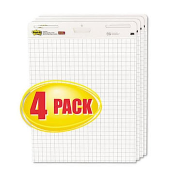 Post-it® Self-Stick Easel Pads, Quad Rule, 25 x 30, White, 4