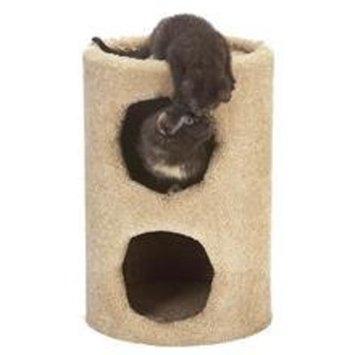 Ace Bayou 2 Story Fur Condo Cat Furniture - Blue base/Grey trim