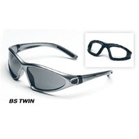 Body Specs BS-Twin Goggles w/ Anti-Fog Interchangeable Grey/Clear Lenses, Chrome