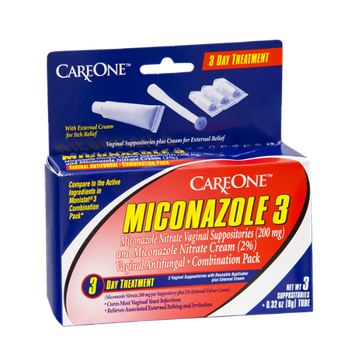 CareOne Miconazole 3 Vaginal Antifungal Suppositories with Applicator Plus External Cream 3 Day Treatment Combination Pack