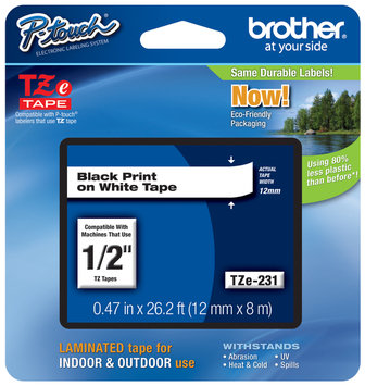 Brother International Corp. BRTTZE231 Laminated Tape Cartridge- For TZ Models- .50in- Black-White