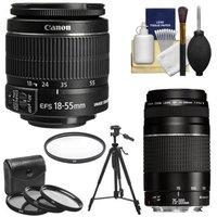 Canon EF-S 18-55mm f/3.5-5.6 IS II & EF 75-300mm f/4-5.6 III Zoom Lenses with 4 UV/FLD/CPL Filters + Tripod Kit for EOS 70D, 7D, Rebel T3, T3i, T4i, T5, T5i, SL1 DSLR Cameras