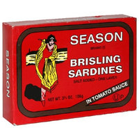 Season Brisling Sardines In Tomato Sauce, 3.75-Ounce Tins (Pack of 6)