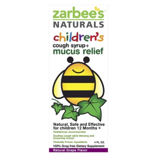 Zarbee's Naturals Children's Grape Cough Syrup + Mucus Relief