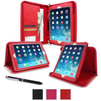iPad Air 2 Case - roocase Executive Portfolio iPad Air 2 2014 Genuine Leather Case Cover with Stylus for Apple iPad Air 2 (2014) 6th Generation Latest Model, Red