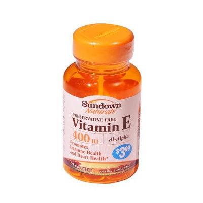 Sundown Naturals Vitamin E SFGL 400IU PP$3.99 SDWN Size: 75