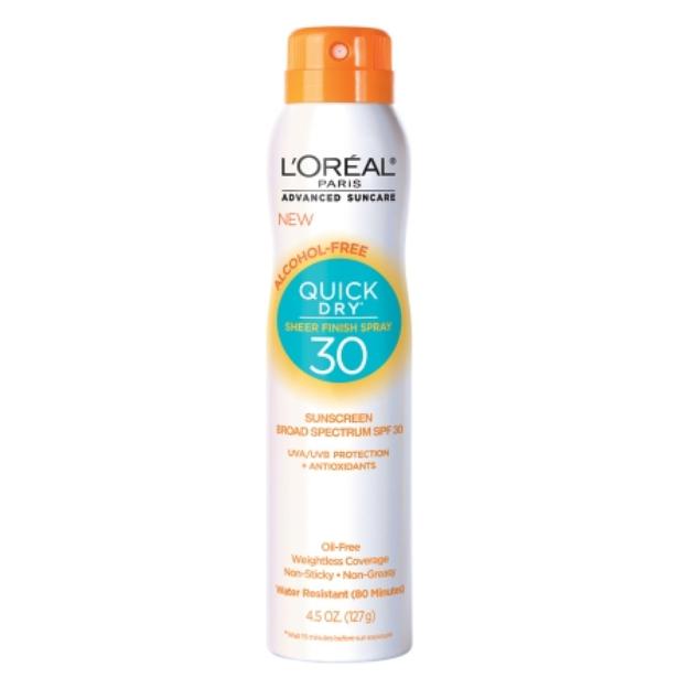 L'Oréal Paris Advanced Suncare Quick Dry Sheer Finish Spray SPF 30, 4.5 oz