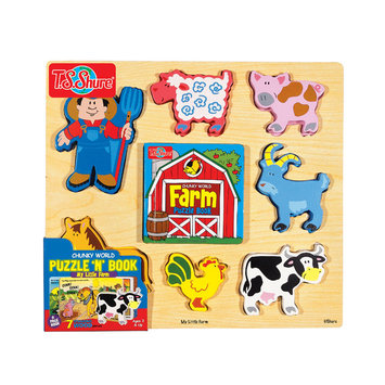 T.s. Shure Chunky World Farm Chunky Wooden Puzzle and Book