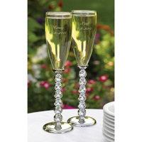 Hortense B. Hewitt Diamond Stemmed Flutes - Silver