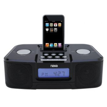 Naxa NI-3103 Digital Alarm Clock Radio with Dock for iPod- Black