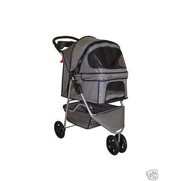 BestPet 3-Wheel Pet Stroller, Classic Gray