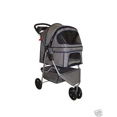 BestPet 3-Wheel Pet Stroller, Classic Gray
