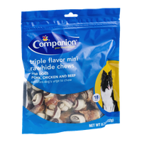 Companion Triple Flavor Mini Rawhide Chews for Dogs Pork, Chicken and Beef - 18 CT