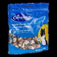 Companion Triple Flavor Mini Rawhide Chews for Dogs Pork, Chicken and Beef - 18 CT