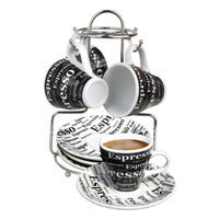 MBR Industries BC-43888 Espresso Set 13 Piece with Iron Stand