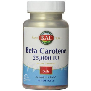 KAL Beta Carotene 25,000 IU Tablets, 50 Count