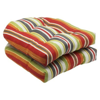 Pillow Perfect Outdoor 2-Piece Wicker Seat Cushion Set - Roxen Stripe