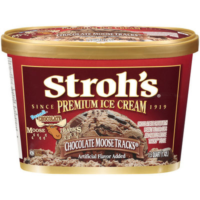 Stroh's Premium Chocolate Moose Tracks Ice Cream, 1.5qt
