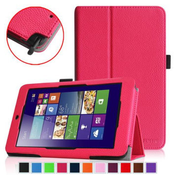 Fintie Folio Leather Case Cover for ASUS VivoTab Note 8 M80TA Tablet (Windows 8.1), Magenta