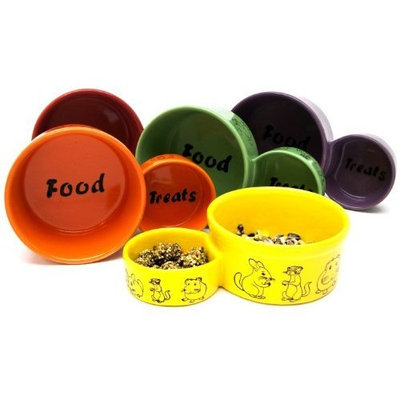 Super Pet Eat-N-Treat Ceramic Double Dish, Large