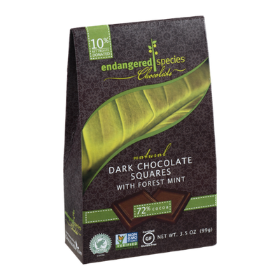 Endangered Species Chocolate Natural Dark Chocolate Squares With Forest Mint