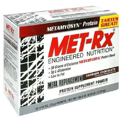 MET-Rx Meal Replacement Powder, Extreme Chocolate, 2.54-Ounce Packets (Pack of 42)