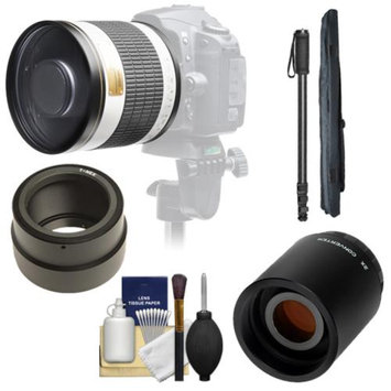 Samyang 500mm f/6.3 Mirror Lens (White) with 2x Teleconverter (=1000mm) + Monopod Kit for Sony Alpha NEX-C3, NEX-F3, NEX-5, NEX-5N, NEX-7 Digital Cameras