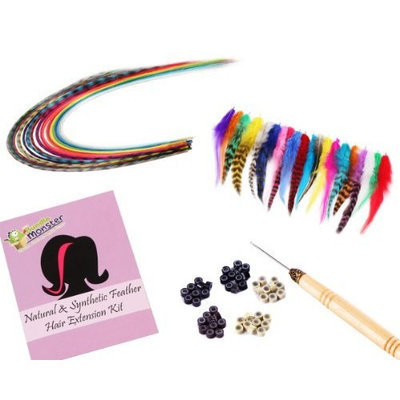 Bundle Monster 40pc Rooster/Synthetic Feather Hair Extension Mix Kit in Grizzly and Solid Colors - Includes 50 Silicone Beads and Hook