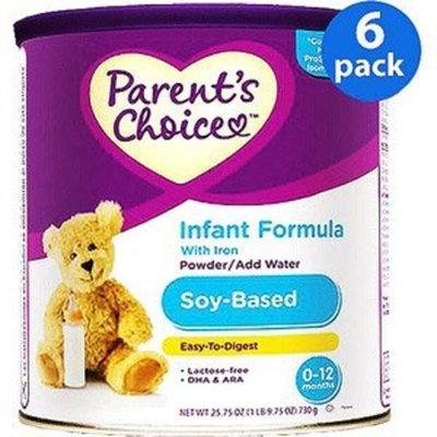 Parents Choice Parent's Choice - Soy Infant Powder Formula with Iron, 25.7 Oz, (6 Pack)
