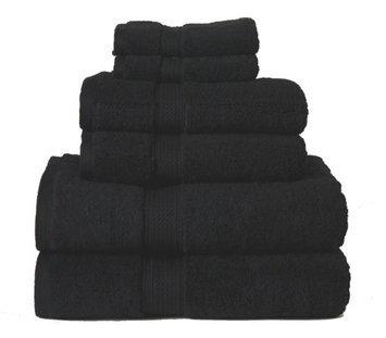 Blue Nile Mills 6-Piece 100% Egyptian Cotton Super Absorbent Towel Set 900 GSM, Black