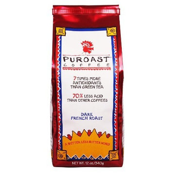 Puroast Low Acid Coffee Dark French Roast Whole Bean, 12 oz. Bag (Pack of 2)