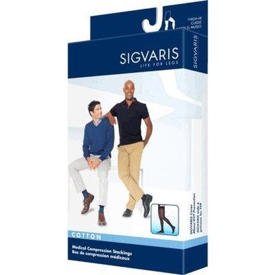 Sigvaris Men's Cotton Thigh High with Grip Top 30-40mmHg Closed Toe Long Length, Medium Long, Black