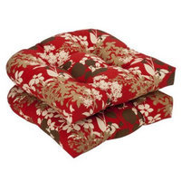 Pillow Perfect Outdoor 2-Piece Chair Cushion Set - Brown/Red Floral