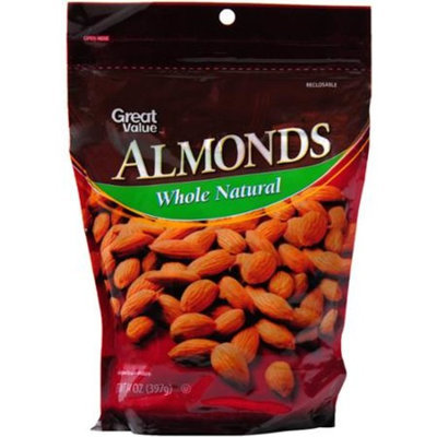 Great Value Whole Natural Almonds, 14 oz