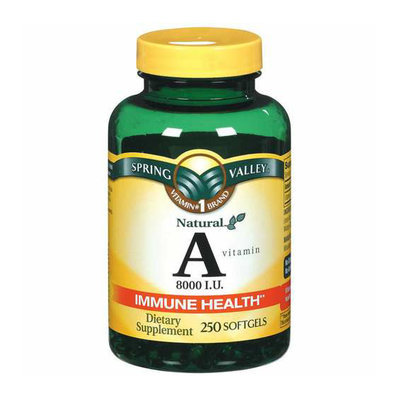 Spring Valley : Vitamin A 8000 I.U. Softgels Dietary Supplement
