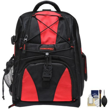 Precision Design Multi-Use Laptop/Tablet Digital SLR Camera Backpack Case (Black/Red) with Cleaning Kit for Canon EOS 60D, 6D, 7D, 5D Mark II III, Rebel T3, T3i & T4i