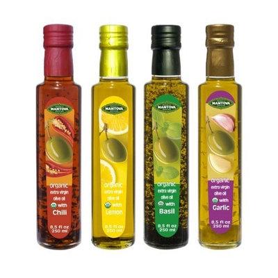 Mantova Organic Flavored Extra Virgin Olive Oil,Basil,Garlic,Lemon,Chili.8.5 oz each.