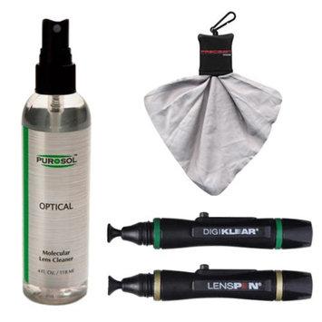 PUROSOL Purosol All Natural Optical Molecular Lens & DSLR Camera Cleaner (4 Fl. Oz.) with (2) Lenspens + Spudz Cloth